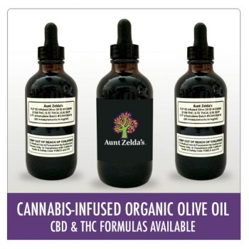 Cannabis-Infused Organic Olive Oil - THC - Cooking Oil - Aunt Zelda's