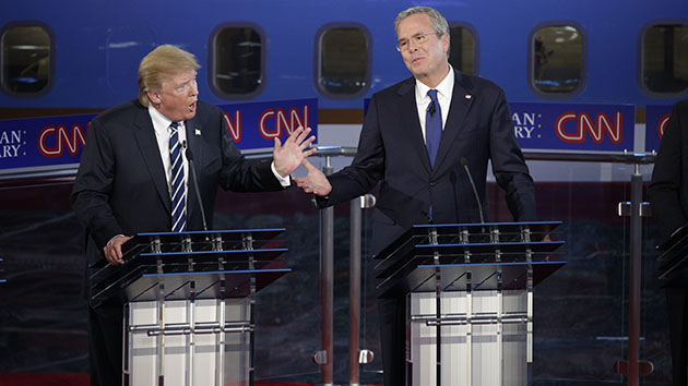 Sept. 16, 2015 - Simi Valley, California, U.S. - DONALD TRUMP, left, and JEB BUSH at the Republican presidential debate hosted by CNN at the Reagan Library. Trump and Bush argued over speaking Spanish. Thirteen Republican presidential candidates participated in the debate. (Credit Image: © Max Whittaker/Pool via The New York Times/ZUMAPRESS.com)